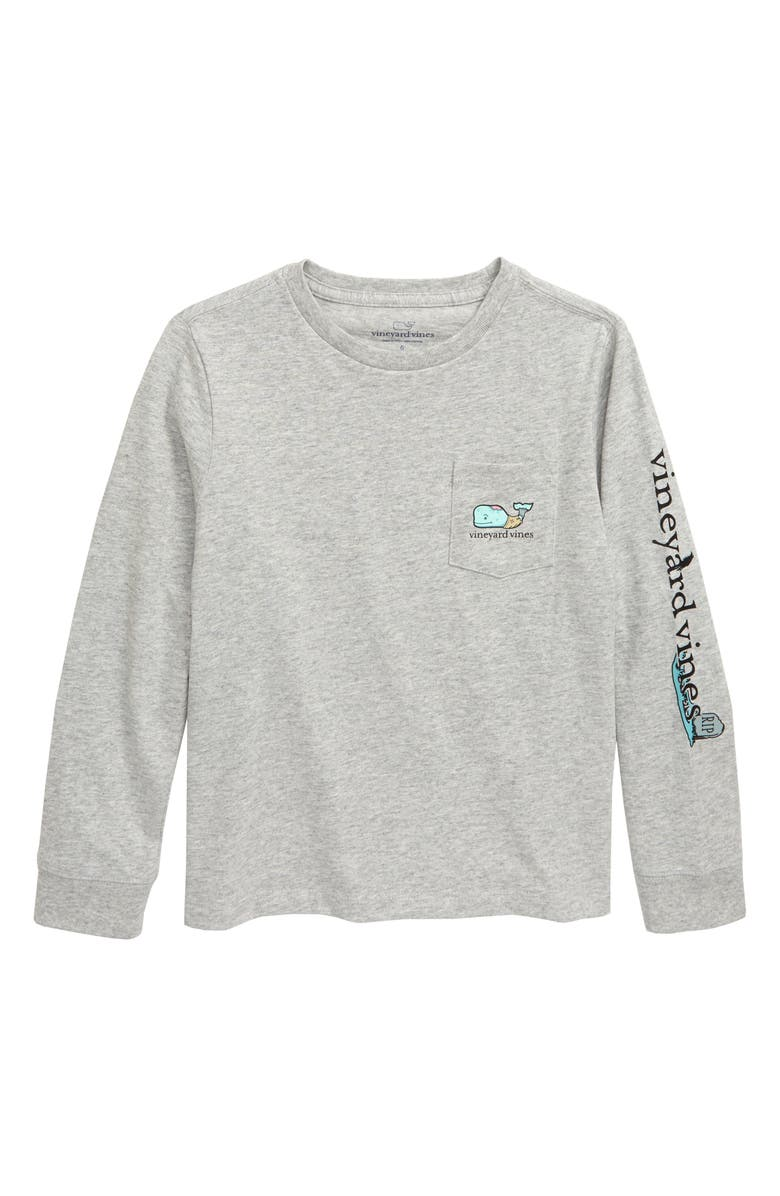 VINEYARD VINES Zombie Whale Pocket Long Sleeve T-Shirt, Main, color, GRAY HEATHER