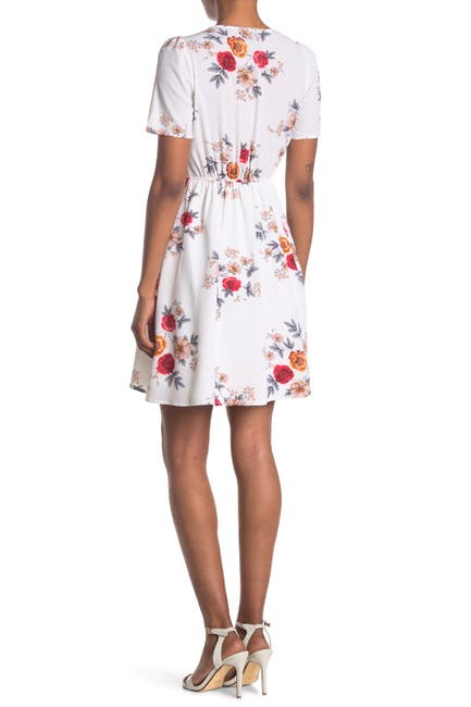 Image of Papillon Floral Print Short Sleeve Wrap Dress
