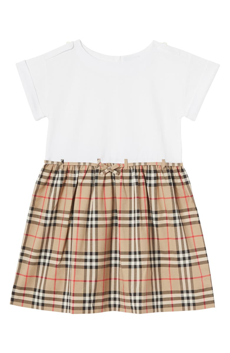 BURBERRY Rhonda Check Skirted Dress, Main, color, WHITE
