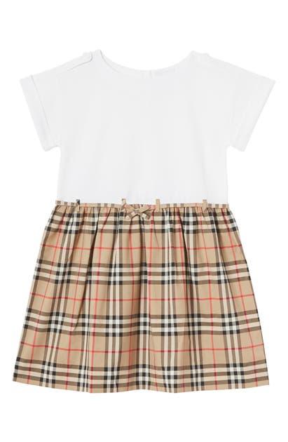 Burberry Kids' Girl's Rhonda Jersey & Check Poplin Dress In Multicoloured