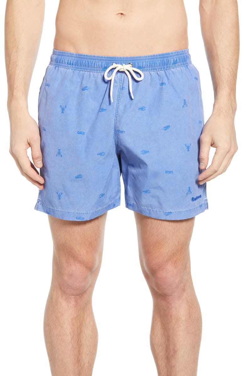 BARBOUR Lobster Print Swim Trunks, Main, color, 450