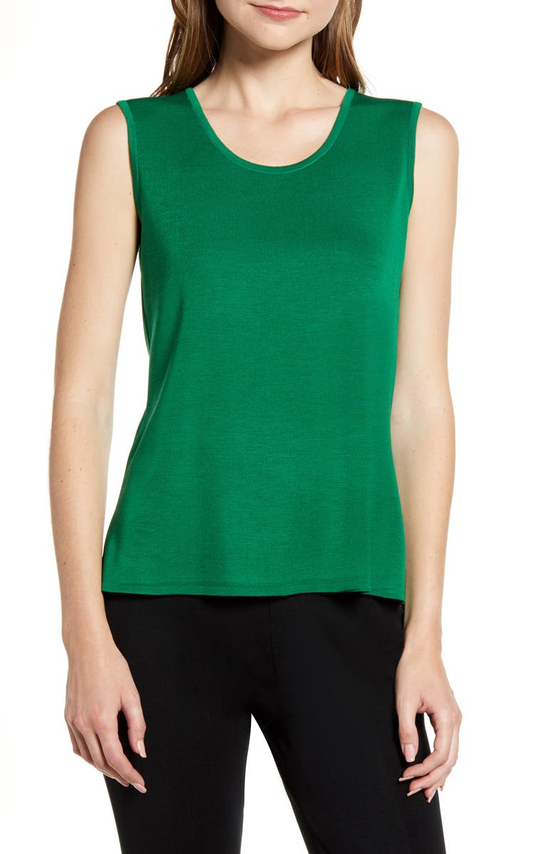 MING WANG Sweater Tank, Main, color, FOREST