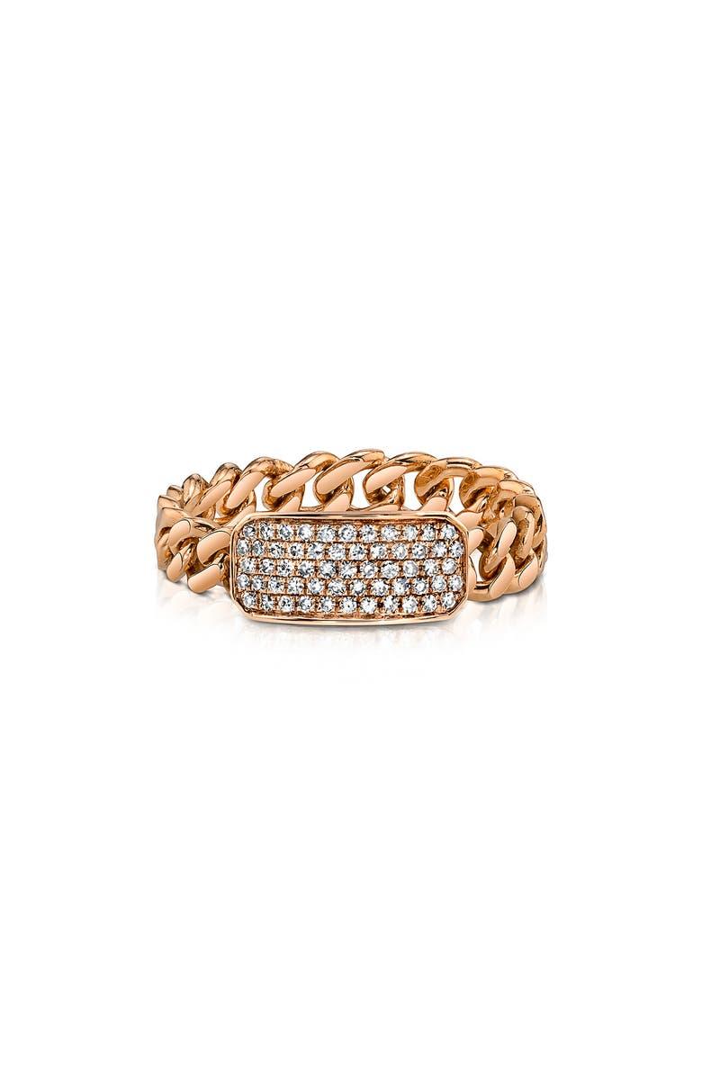 SHAY Diamond Pavé ID Link Ring, Main, color, YELLOW GOLD/ DIAMOND