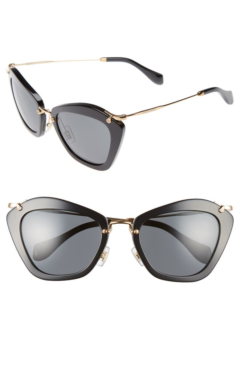 MIU MIU Noir 55mm Cat Eye Sunglasses, Main, color, 001