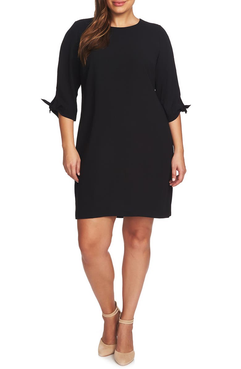 CECE Tie Sleeve Shift Dress, Main, color, RICH BLACK