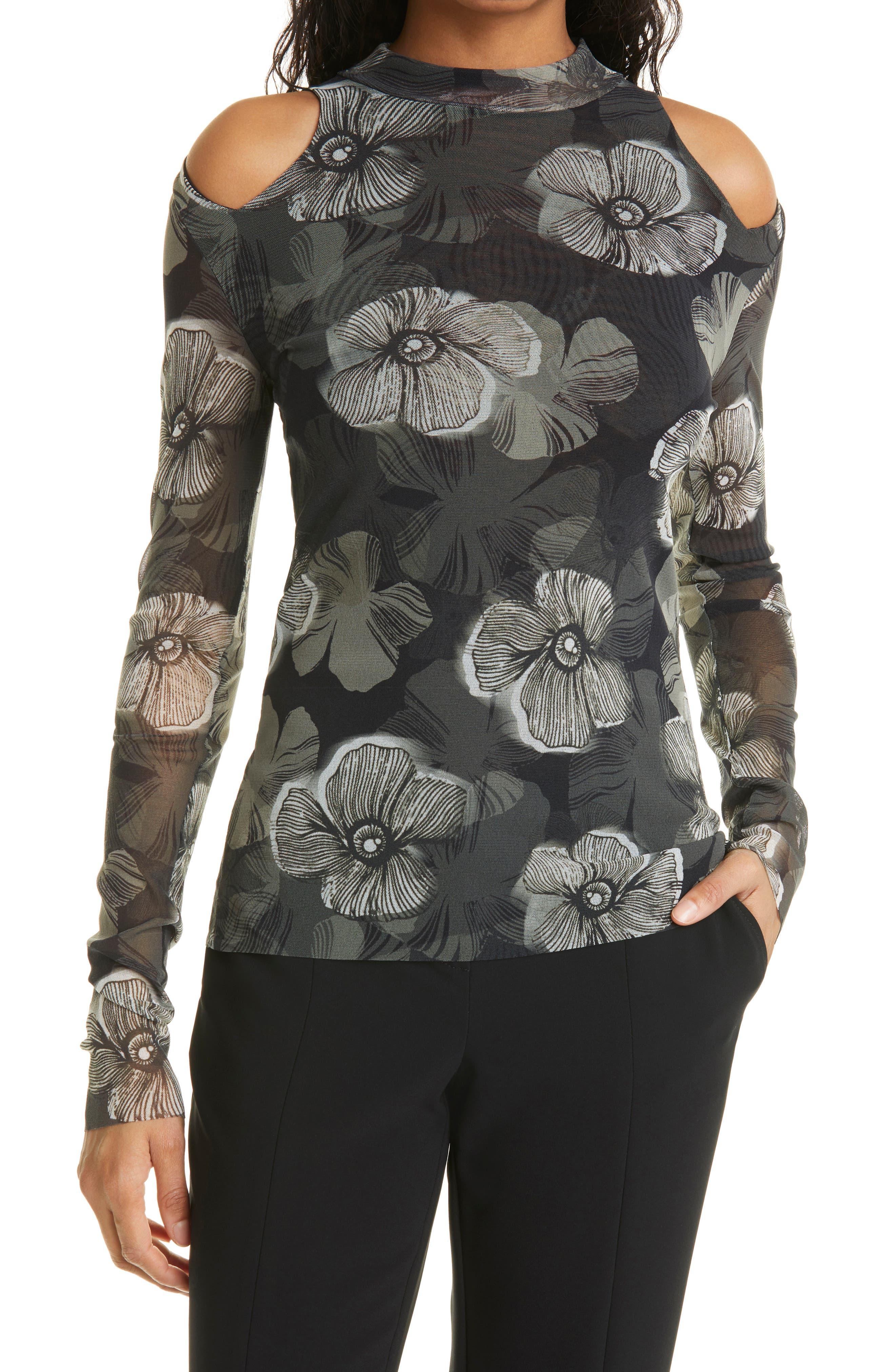 Floral Print Mesh Cold Shoulder Top