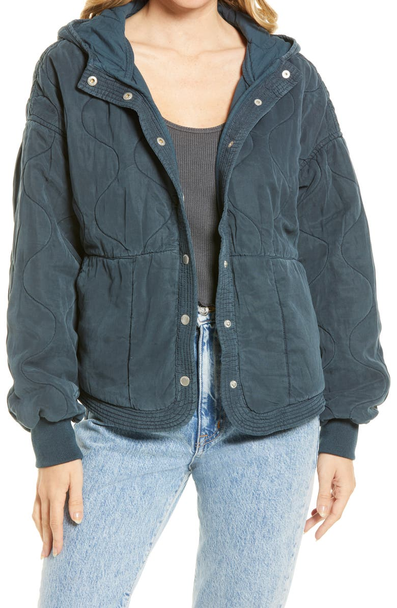 BLANKNYC Quilted Hooded Jacket, Main, color, GARDENSCAPE