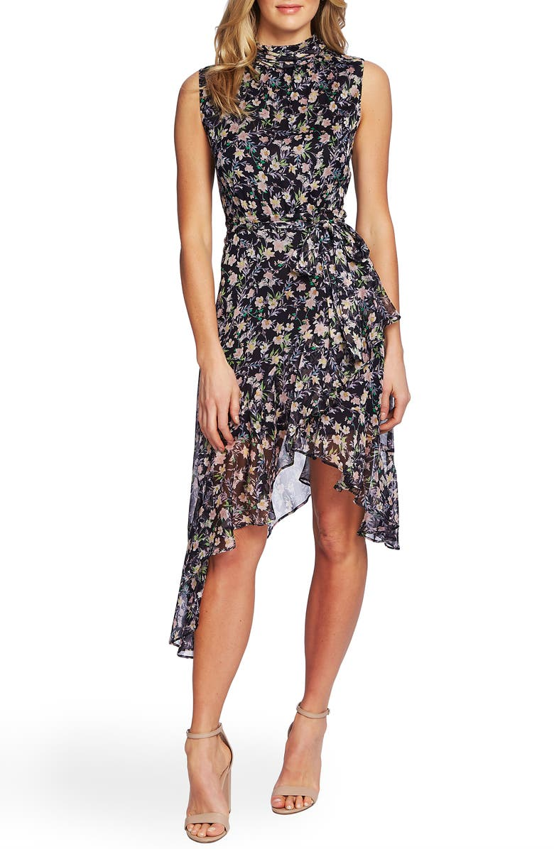 CECE Botanical Charm Cascading Ruffle Sleeveless Dress, Main, color, CAVIAR