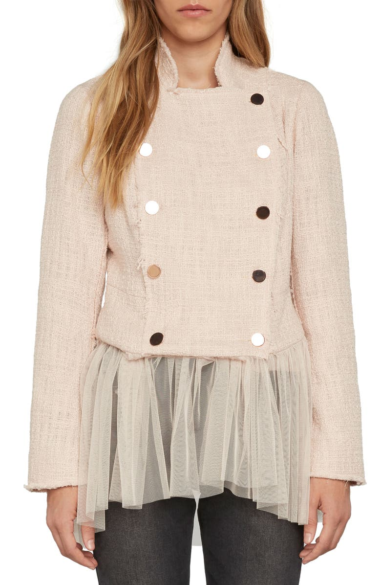WILLOW & CLAY Tulle Hem Blazer, Main, color, 651