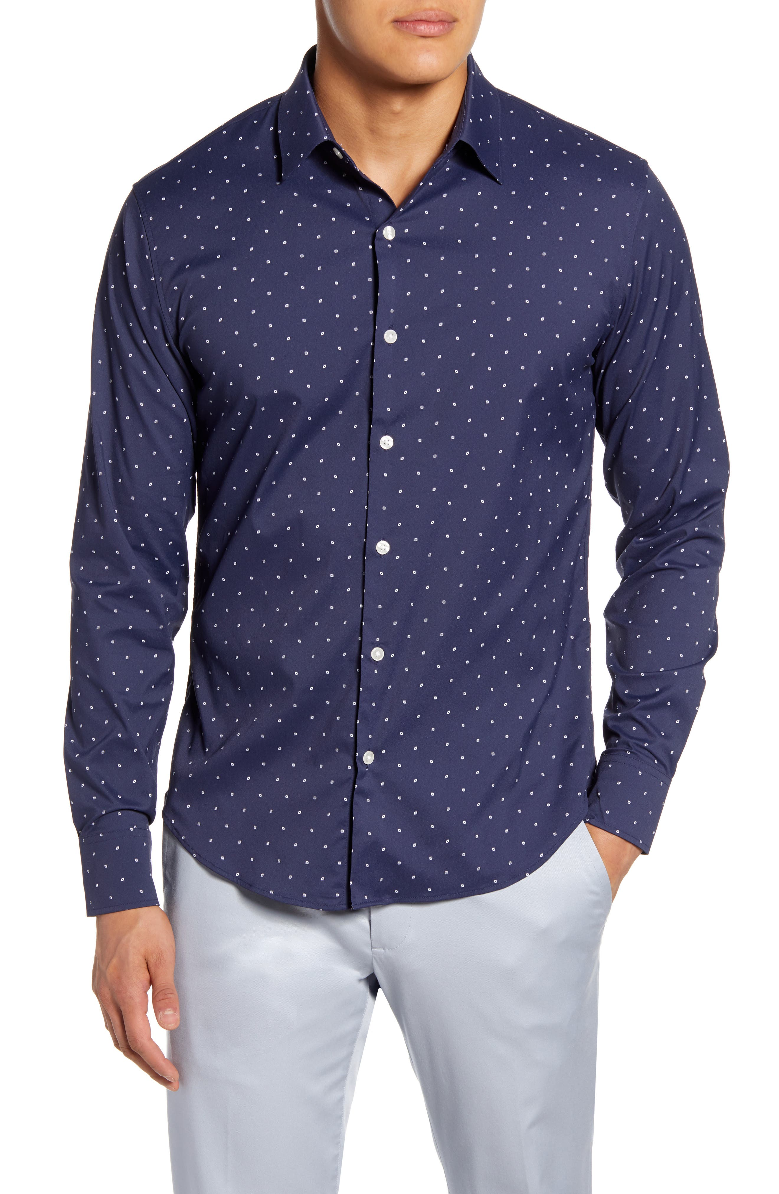 Slim Fit Button-Up Performance Shirt
