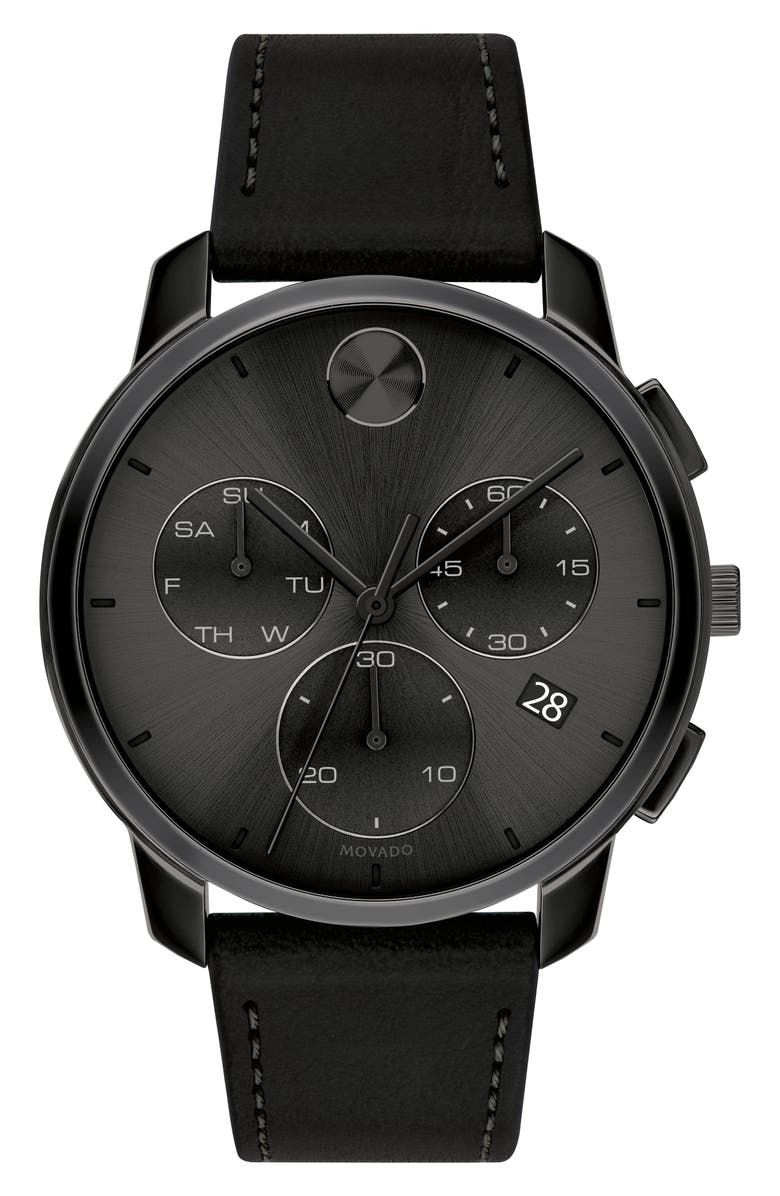 MOVADO Bold Chronograph Leather Strap Watch, 42mm, Main, color, BLACK