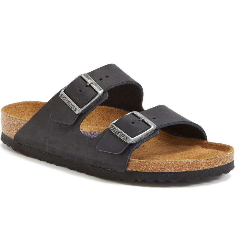 BIRKENSTOCK Arizona Soft Footbed Sandal, Main, color, BLACK/ BLACK