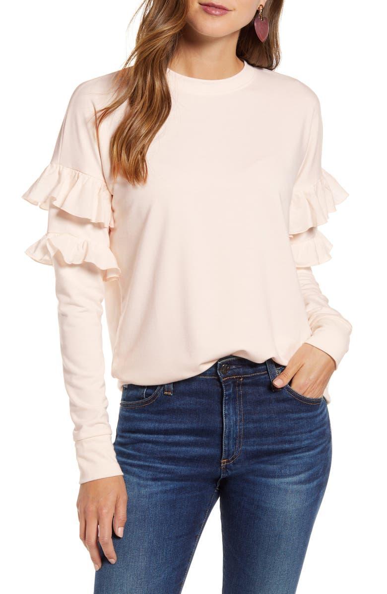 RACHEL PARCELL Ruffle Sweatshirt, Main, color, PINK PARCHMENT