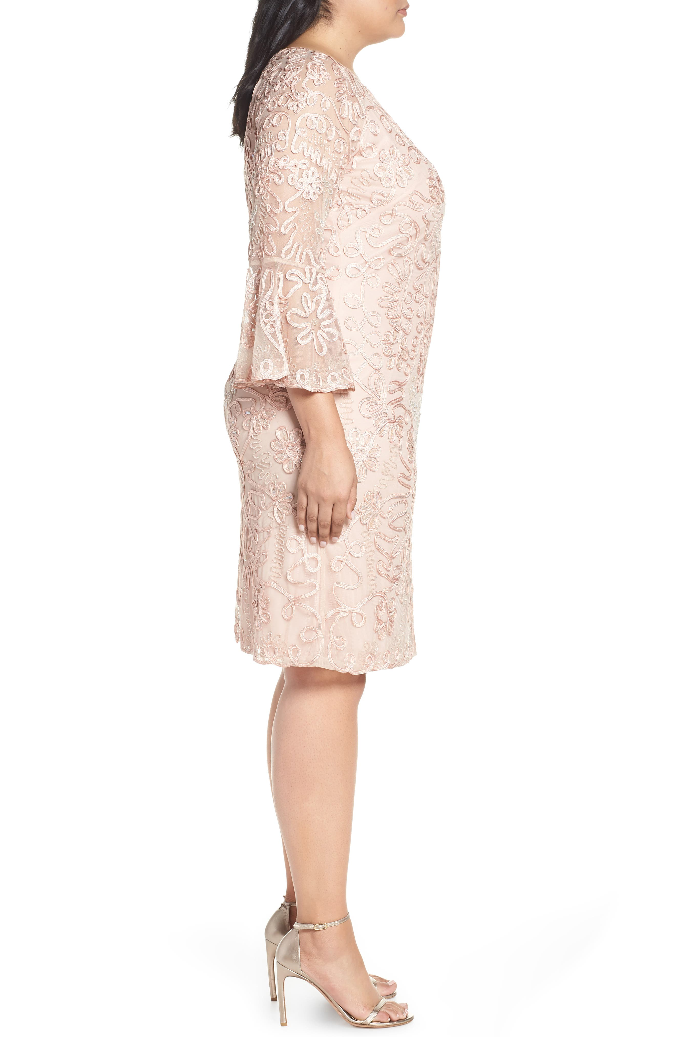 ,                             Bell Sleeve Mesh Shift Dress,                             Alternate thumbnail 4, color,                             PINK TAUPE