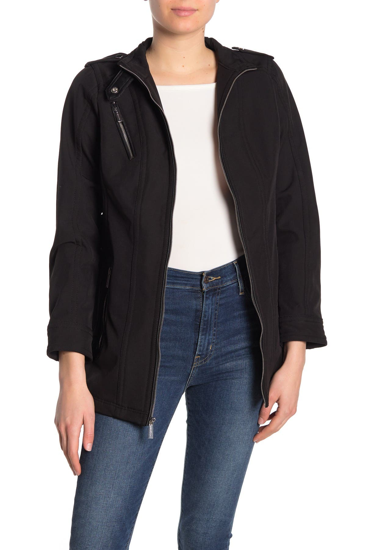 Image of MICHAEL Michael Kors Missy Faux Leather Trim Belted Jacket