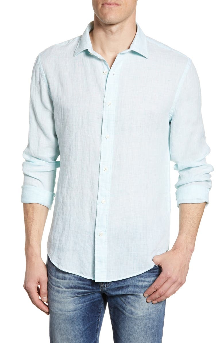 FAHERTY Regular Fit Linen Button-Up Shirt, Main, color, TURQUOISE MELANGE