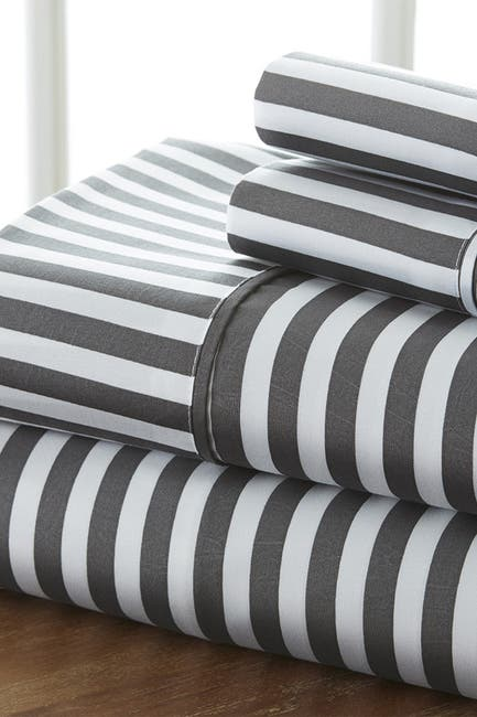 Image of IENJOY HOME The Home Spun Premium Ultra Soft Ribbon Pattern 4-Piece King Bed Sheet Set - Gray