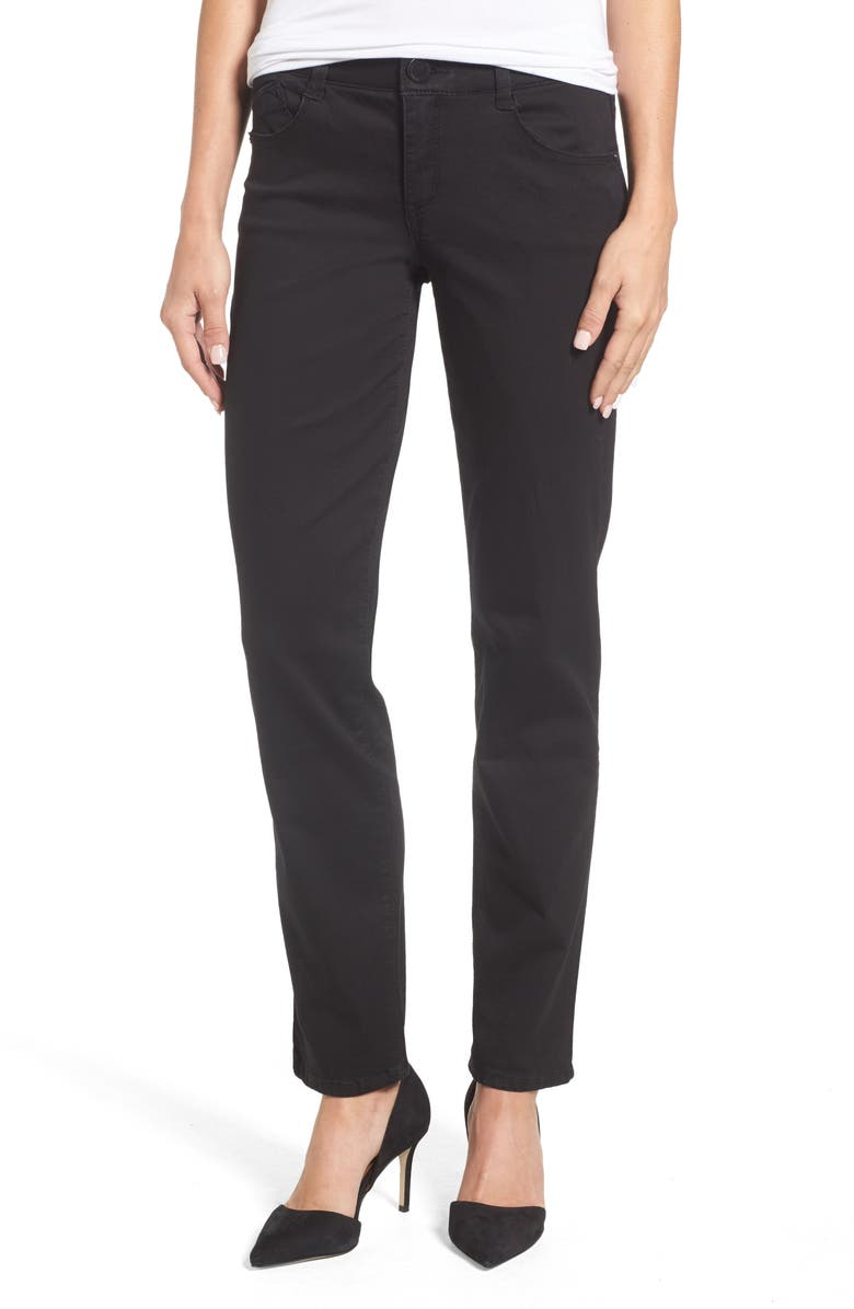 WIT & WISDOM Ab-solution Straight Leg Jeans, Main, color, BLACK