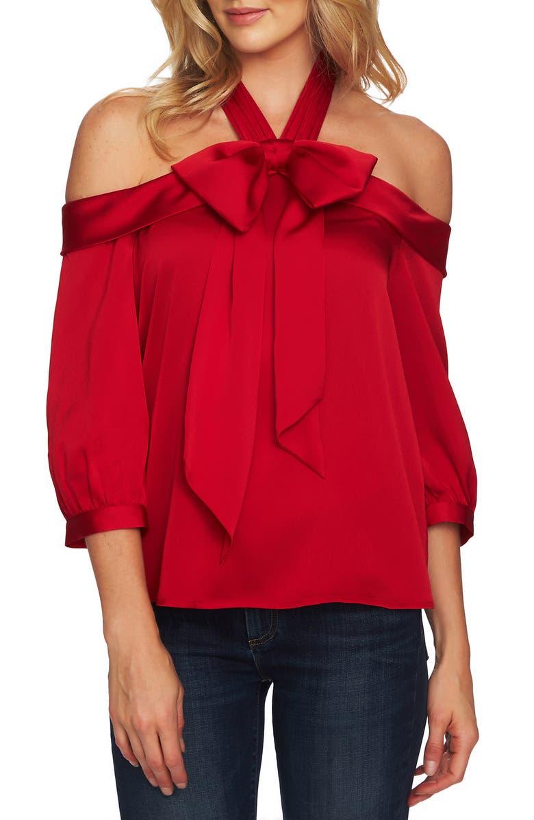 CECE Halter Neck Cold Shoulder Blouse, Main, color, RIBBON RED