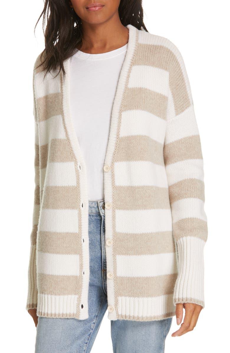 LA LIGNE Stripe Knit Cardigan, Main, color, CREAM/ BEIGE