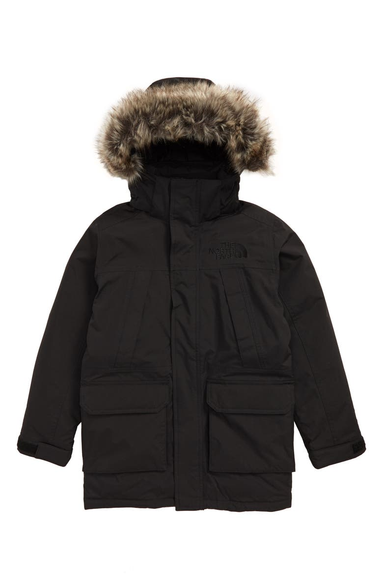 THE NORTH FACE McMurdo Waterproof 550 Fill Power Down Parka with Faux Fur Trim, Main, color, TNF BLACK