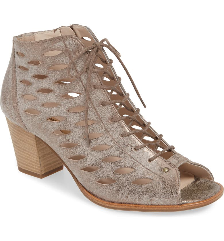 PAUL GREEN Bali Lace-Up Bootie Sandal, Main, color, SMOKE LEATHER