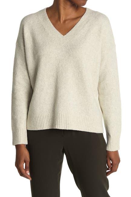 Image of Vince Textured V-Neck Pullover Cotton Blend Sweater