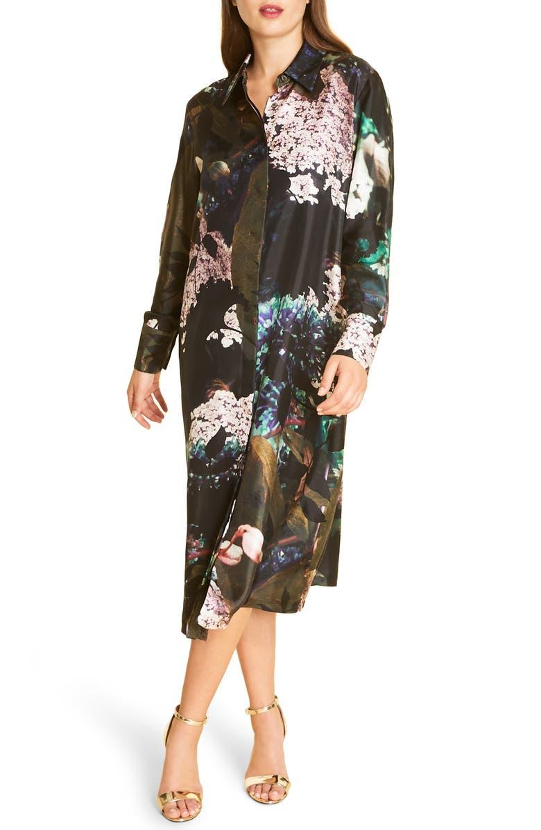 MARINA RINALDI Dynamic Silk Twill Shirtdress, Main, color, NAVY