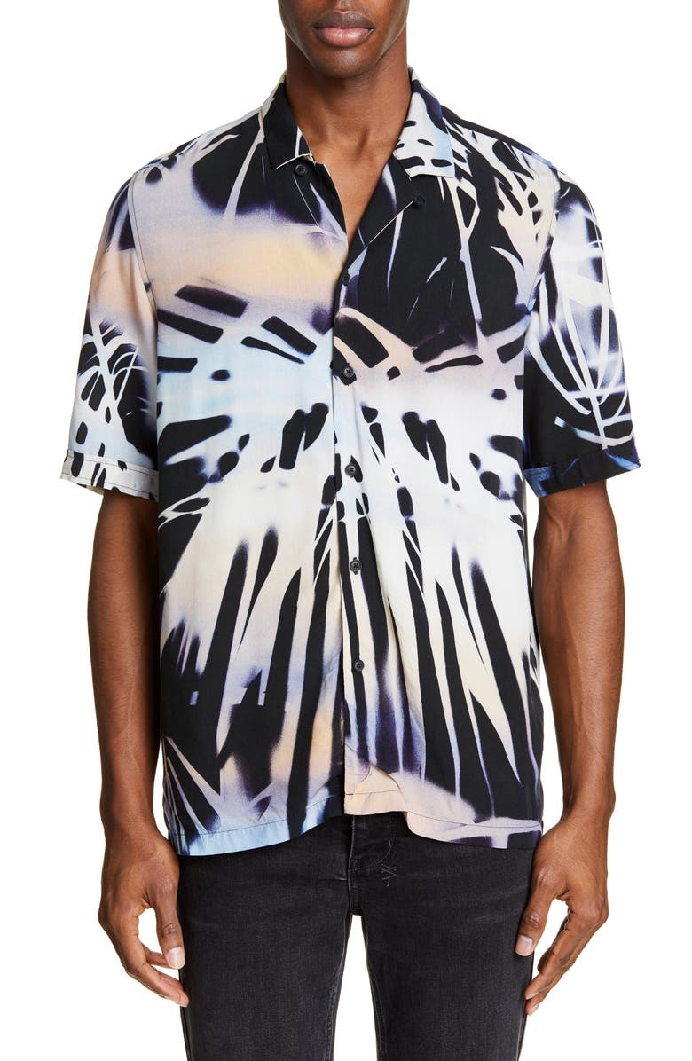 KSUBI Palms Resort Graphic Camp Shirt, Main, color, 001
