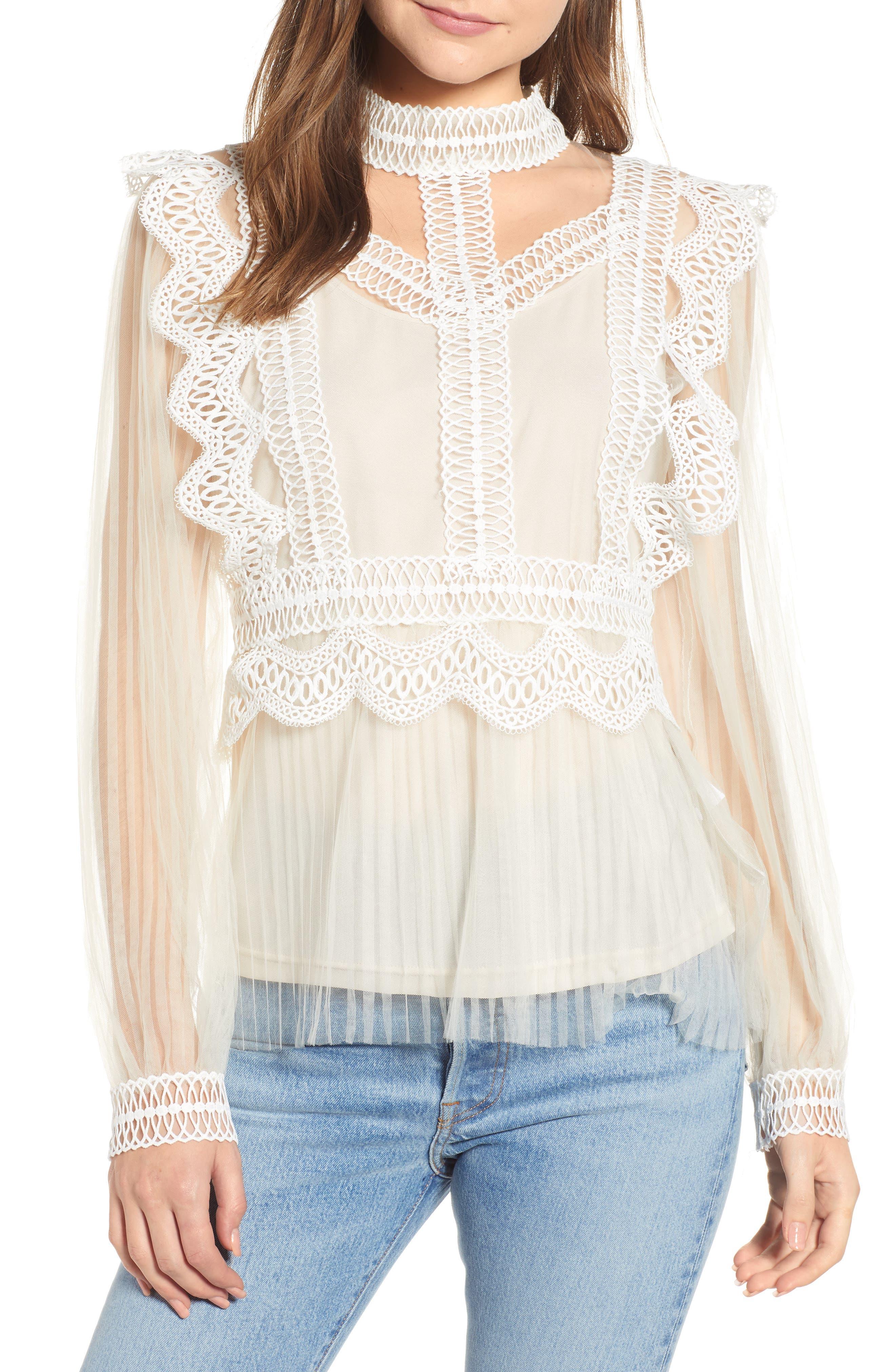 Edwardian Blouses | White & Black Lace Blouses & Sweaters Womens Endless Rose Lace Detail Mesh Blouse $110.00 AT vintagedancer.com