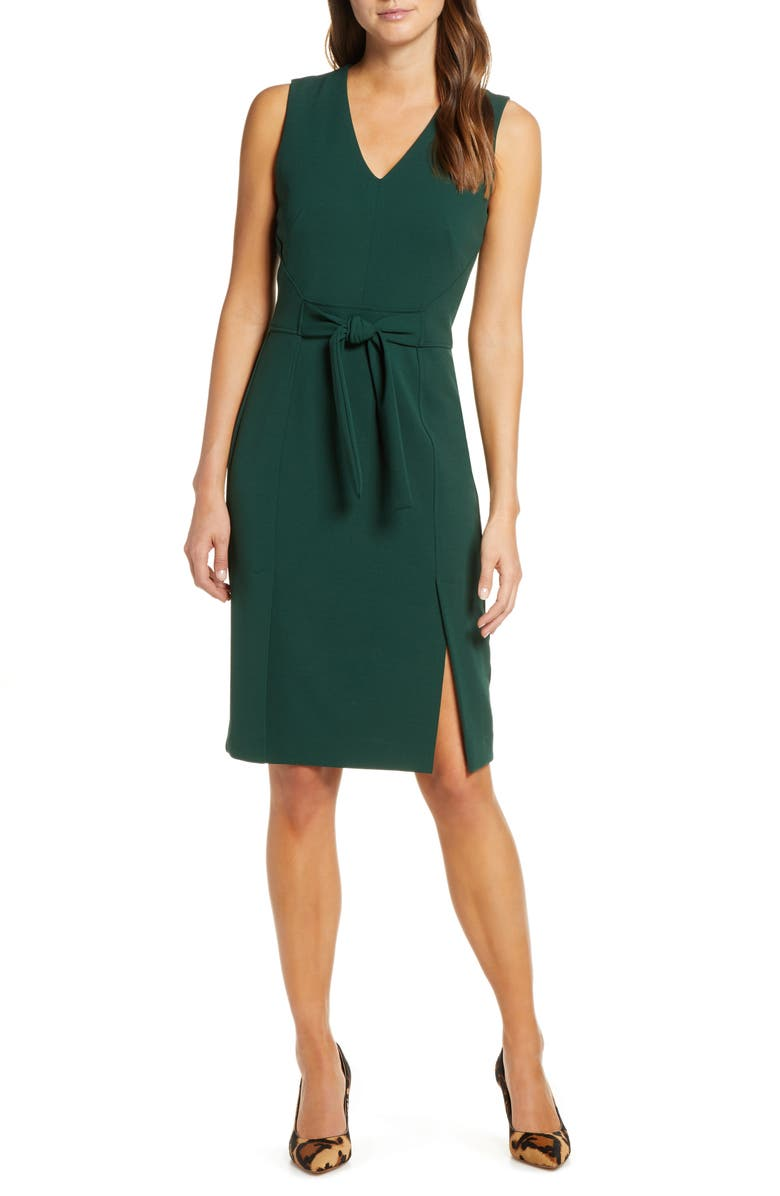 VINCE CAMUTO Scuba Crepe Sheath Dress, Main, color, HUNTER