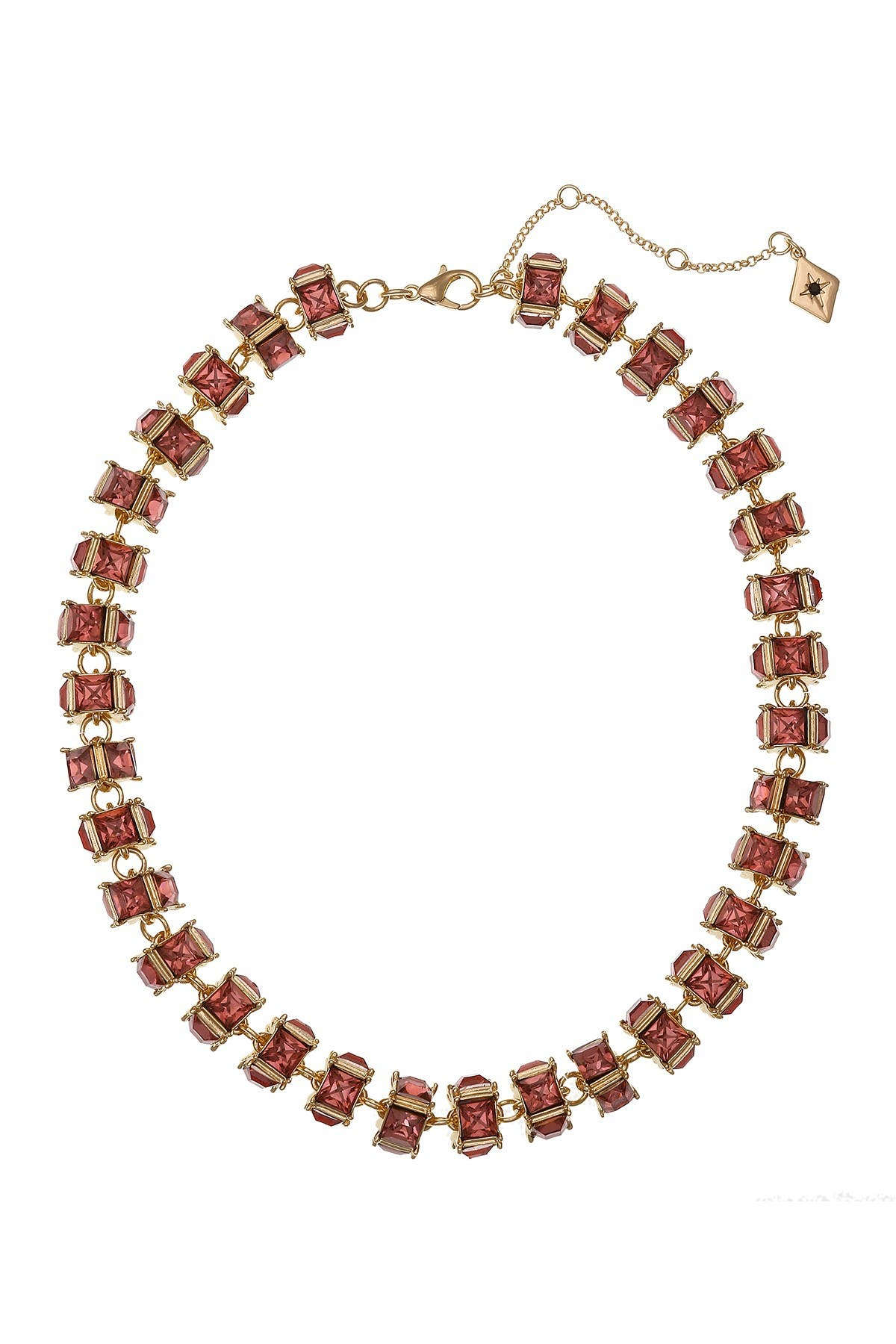 Image of Christian Siriano New York Pink Glass Crystal Statement Collar Necklace