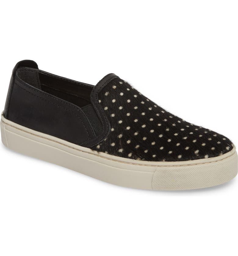 THE FLEXX Sneak About Slip-On Sneaker, Main, color, BLACK POLKA DOT LEATHER