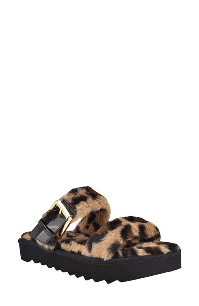 Nine West FUNKIE FAUX FUR PLATFORM SLIPPER