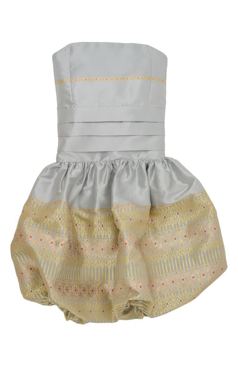 STELLA M'LIA Jacquard Bubble Hem Dress, Main, color, SILVER