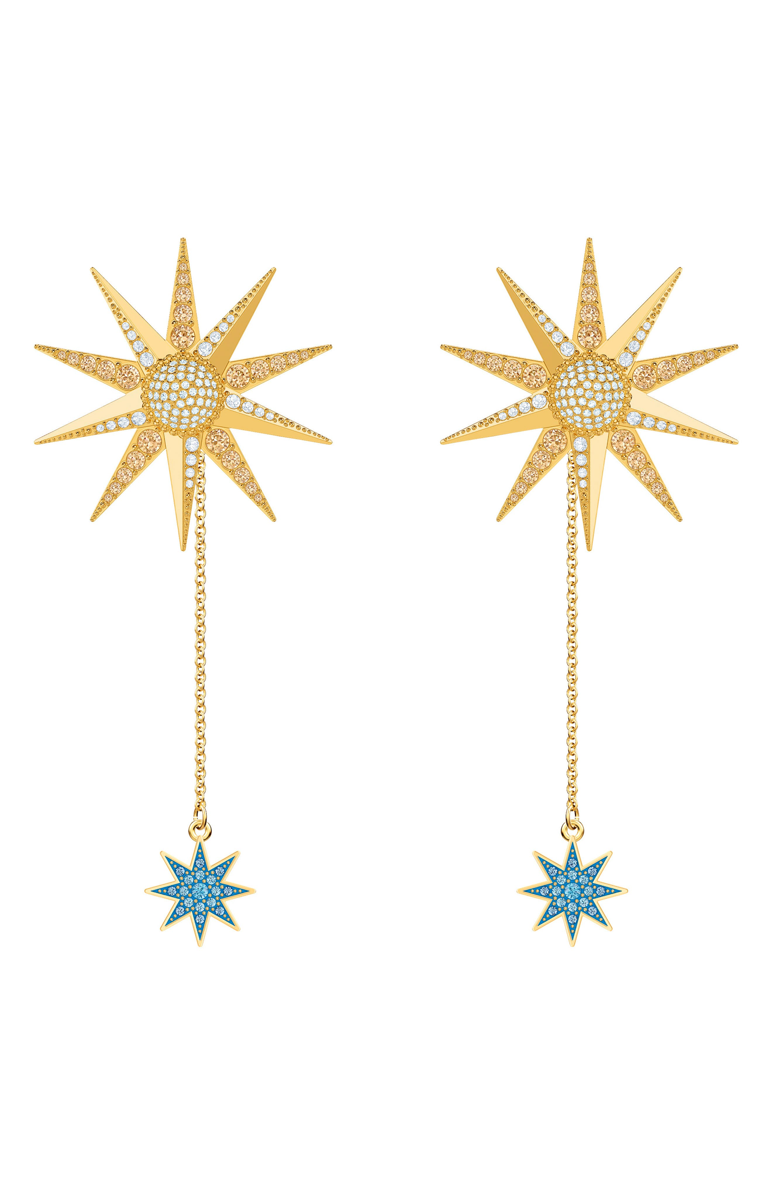 Image of Swarovski Lucky Goddess Sunburst Drop Earrings