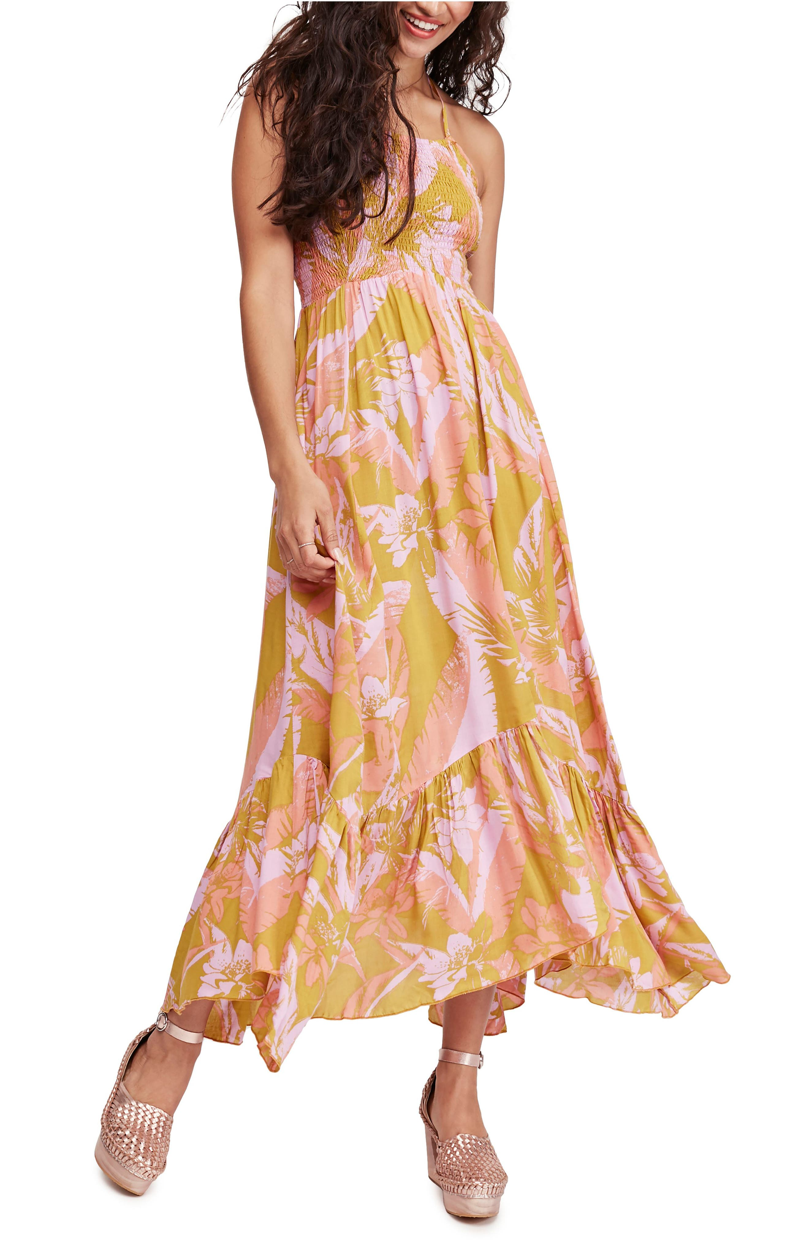 Free People Heat Wave Floral Print High/low Dress, Metallic