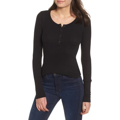 Splendid Classic Henley Thermal, Black