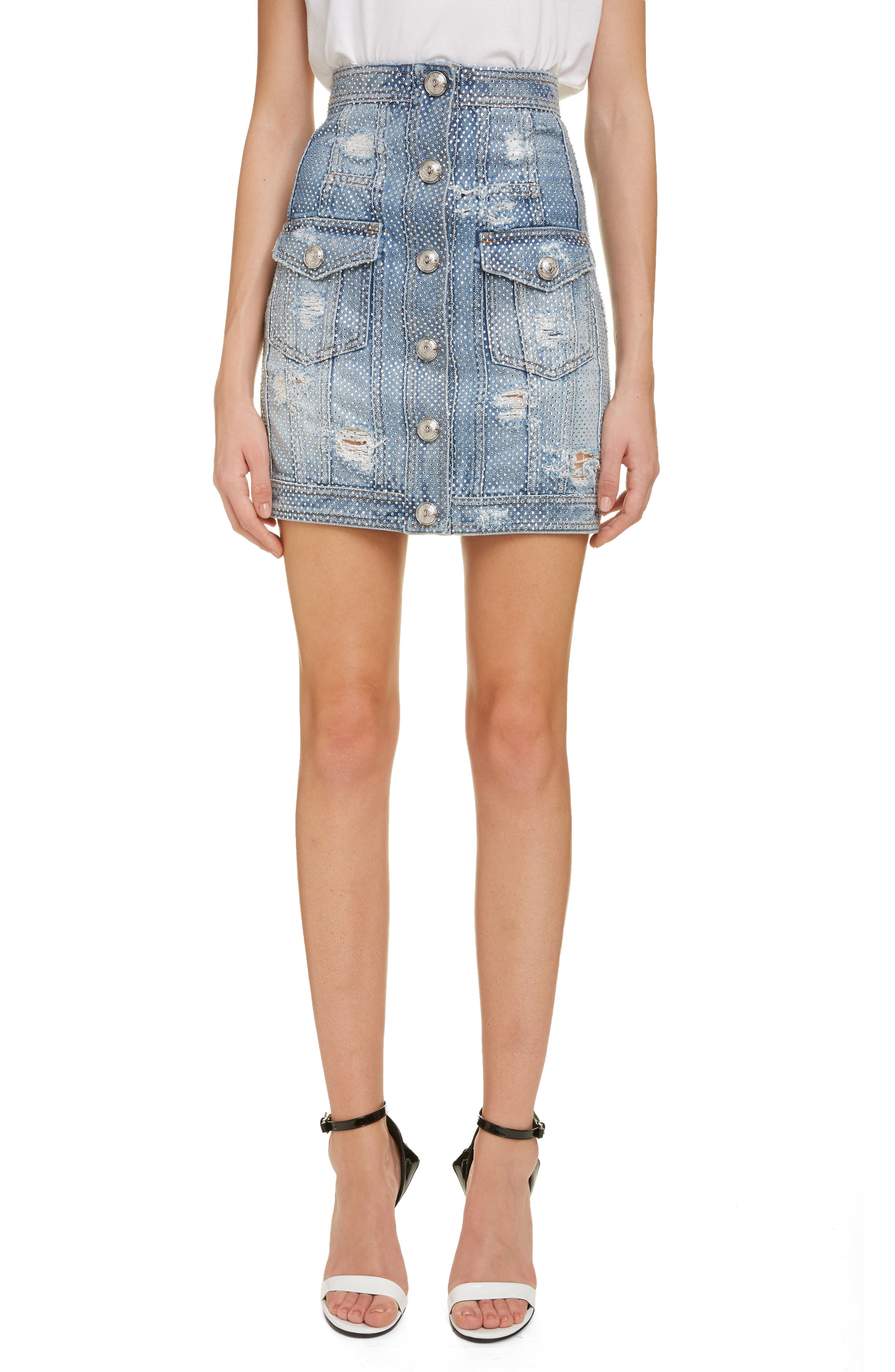 ,                             Crystal Studded Denim Skirt,                             Main thumbnail 1, color,                             SAD BLEU/ ARGENT