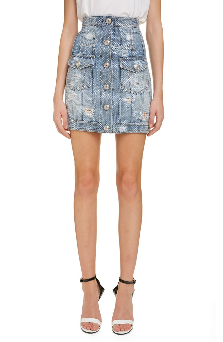 BALMAIN Crystal Studded Denim Skirt, Main, color, 400