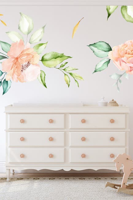 Image of WalPlus Oversized Watercolor Flower Wall Stickers