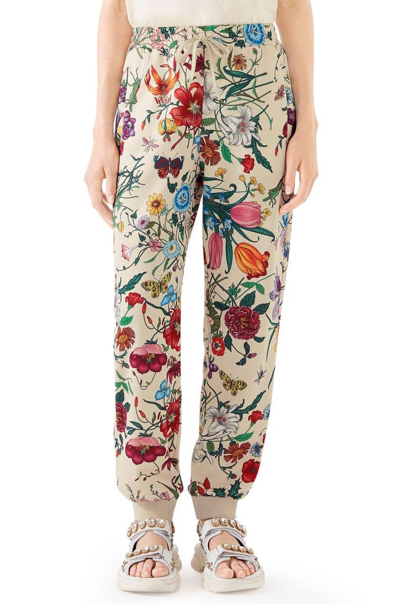 GUCCI Floral Print Tech Jersey Track Pants, Main, color, IVORY/ MULTICOLOR