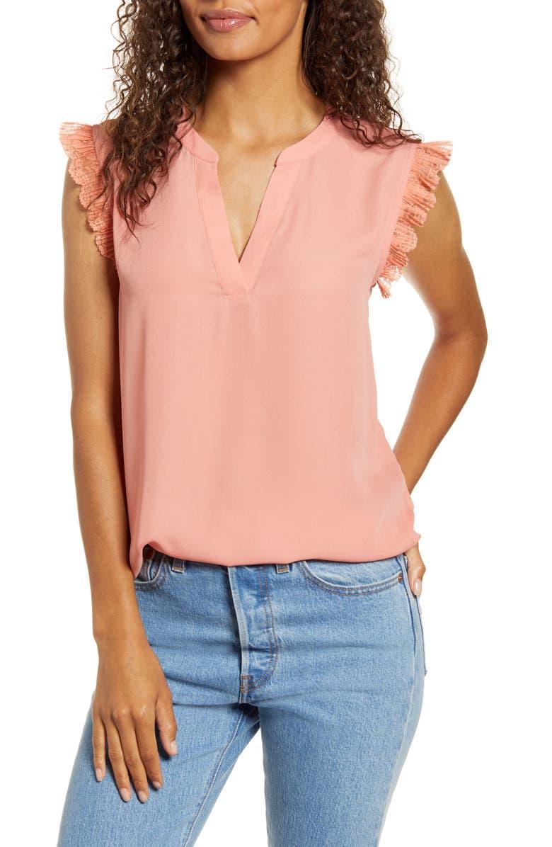 GIBSON x City Safari Roselyn Weaver Split Neck Lace Trim Top, Main, color, LIGHT TERRACOTA