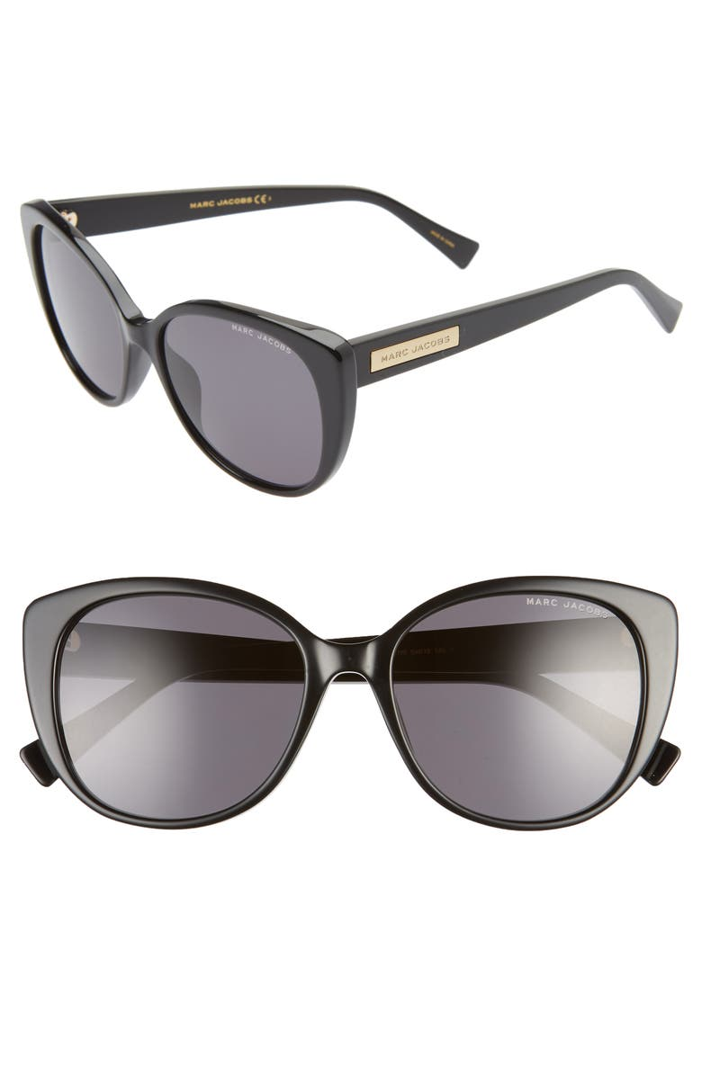 THE MARC JACOBS 54mm Rounded Cat Eye Sunglasses, Main, color, 001