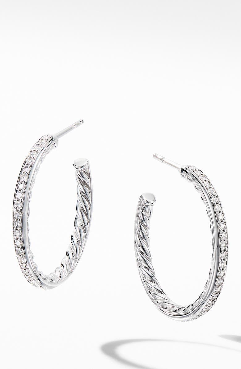 DAVID YURMAN Small Hoop Earrings with Pavé Diamonds, Main, color, DIAMOND