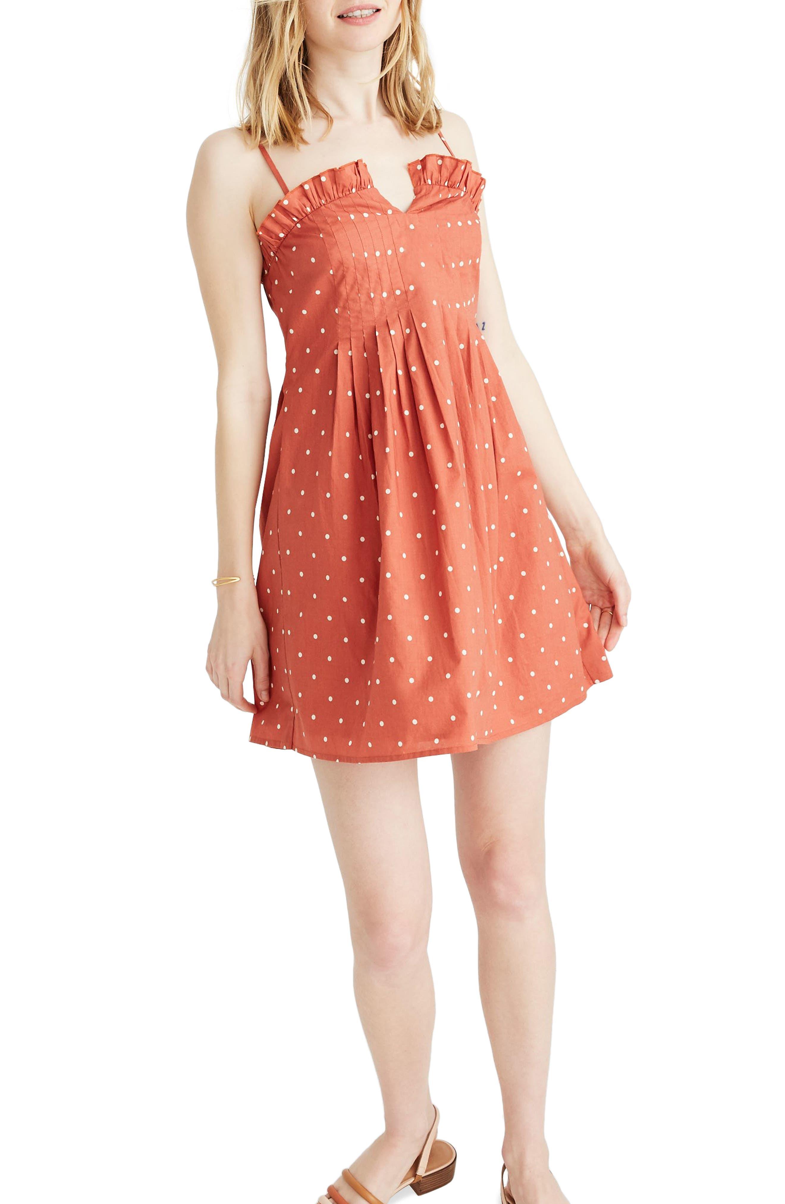 Madewell Polka Dot Pintuck Cami Dress, Orange