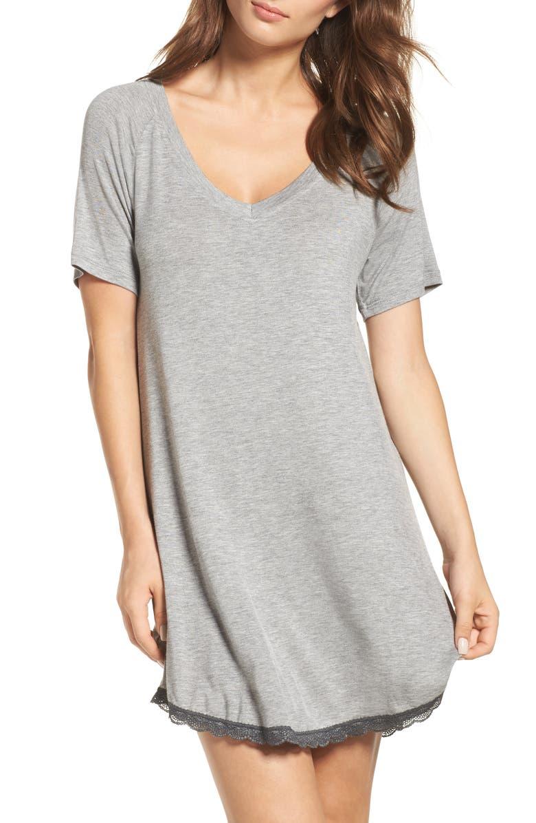 HONEYDEW INTIMATES Honeydew Lace Trim Sleep Shirt, Main, color, HEATHER GREY