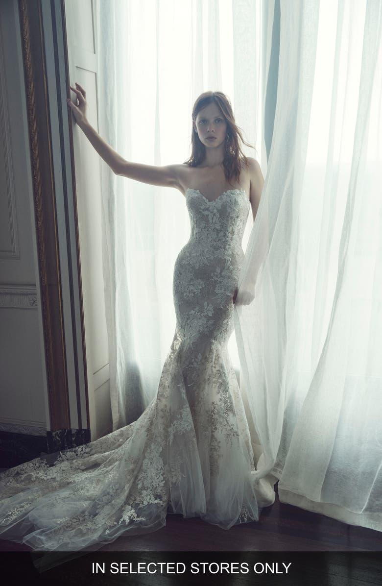 MONIQUE LHUILLIER Larissa Strapless Lace Tulle Dress, Main, color, IVORY / PEARL