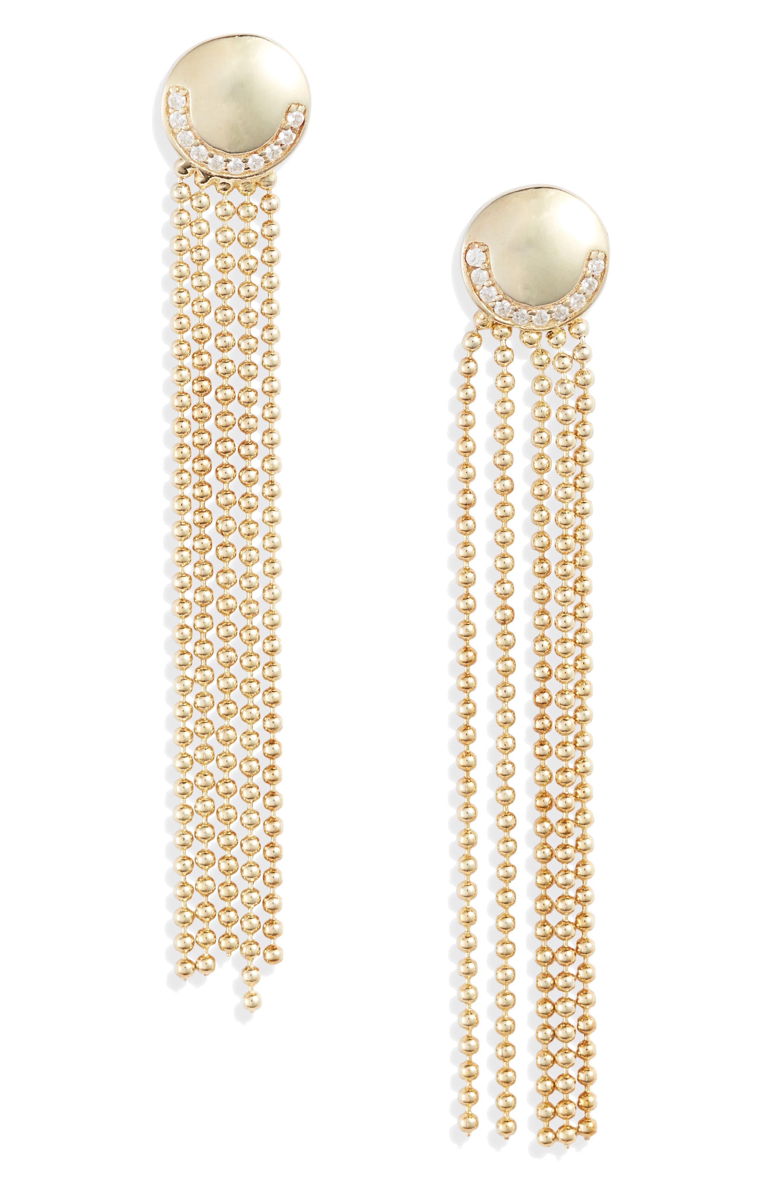 Deco Ball & Chain Fringe Drop Earrings