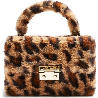 Topshop Fizz Leopard Print Faux Fur Top Handle Bag - Brown